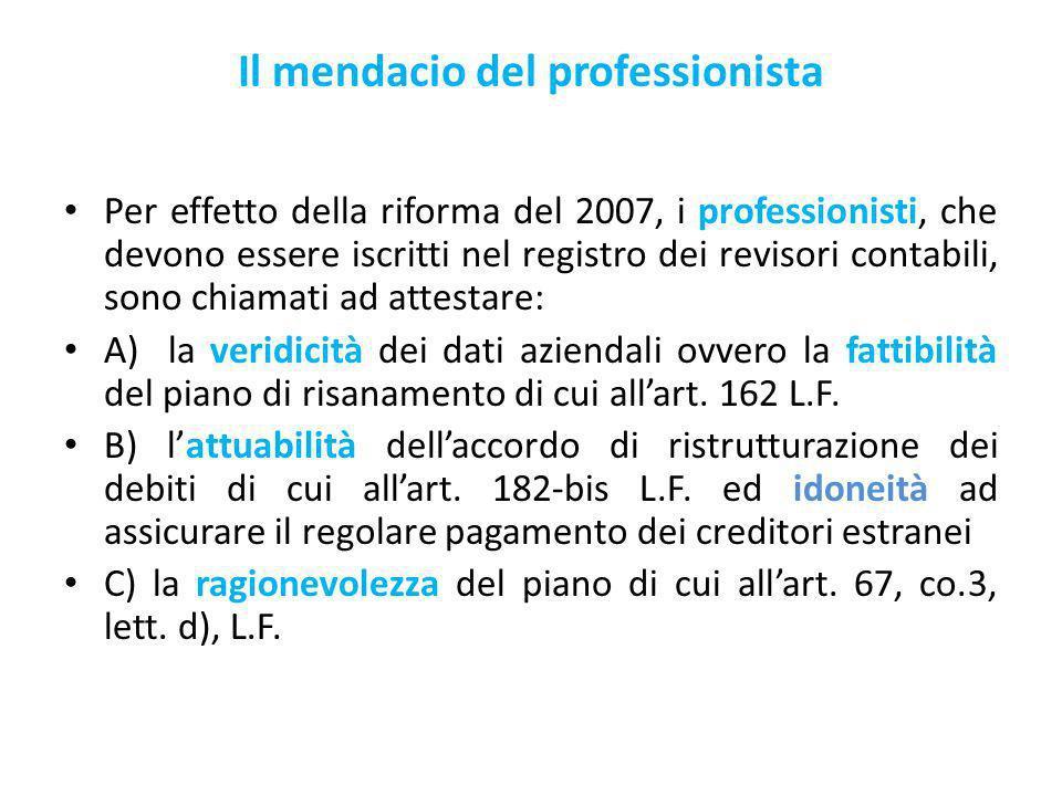 Il mendacio del professionista Per effetto della riforma del 2007, i professionisti, che devono essere iscritti nel registro dei revisori contabili, sono chiamati ad attestare: A) la veridicità dei dati aziendali ovvero la fattibilità del piano di risanamento di cui allart.