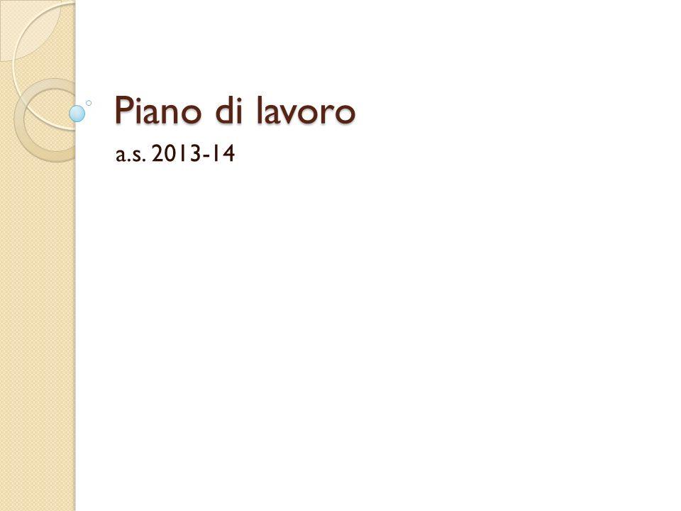Piano di lavoro a.s. 2013-14