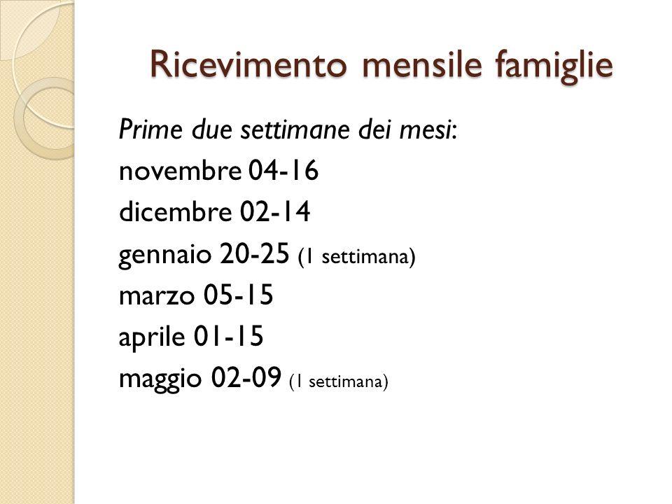 Ricevimento mensile famiglie Prime due settimane dei mesi: novembre 04-16 dicembre 02-14 gennaio 20-25 (1 settimana) marzo 05-15 aprile 01-15 maggio 02-09 (1 settimana)