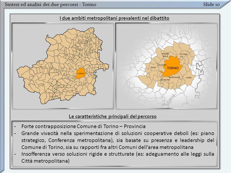 Sintesi ed analisi dei due percorsi - TorinoSlide 10 -Forte contrapposizione Comune di Torino – Provincia -Grande vivacità nella sperimentazione di so