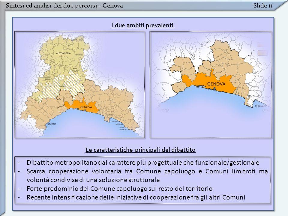Sintesi ed analisi dei due percorsi - GenovaSlide 11 -Dibattito metropolitano dal carattere più progettuale che funzionale/gestionale -Scarsa cooperaz