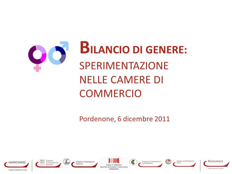 B ILANCIO DI GENERE: SPERIMENTAZIONE NELLE CAMERE DI COMMERCIO Pordenone, 6 dicembre 2011
