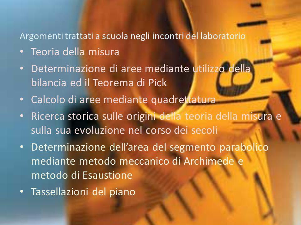 … Eudosso ed il metodo di esaustione Archimede ed il metodo meccanico Cavalieri e gli indivisibili La misura nella fisica moderna Concetto di misura Determinazione di aree mediante utilizzo della bilancia