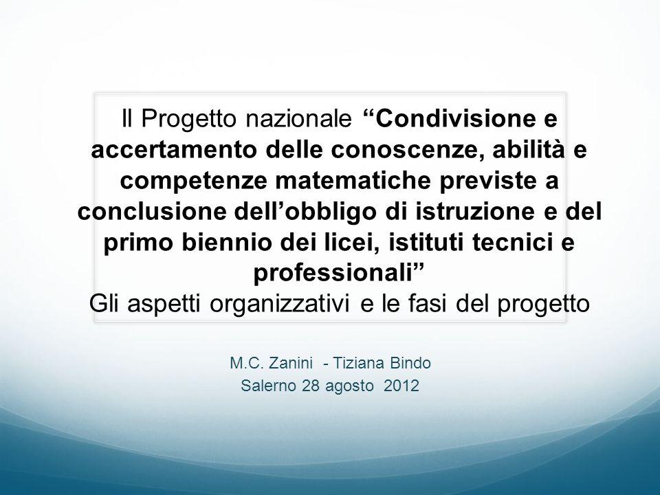 M.C. Zanini - Tiziana Bindo Salerno 28 agosto 2012 Il Progetto nazionale Condivisione e accertamento delle conoscenze, abilità e competenze matematich