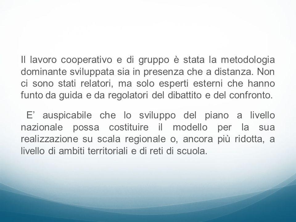 Il lavoro cooperativo e di gruppo è stata la metodologia dominante sviluppata sia in presenza che a distanza. Non ci sono stati relatori, ma solo espe