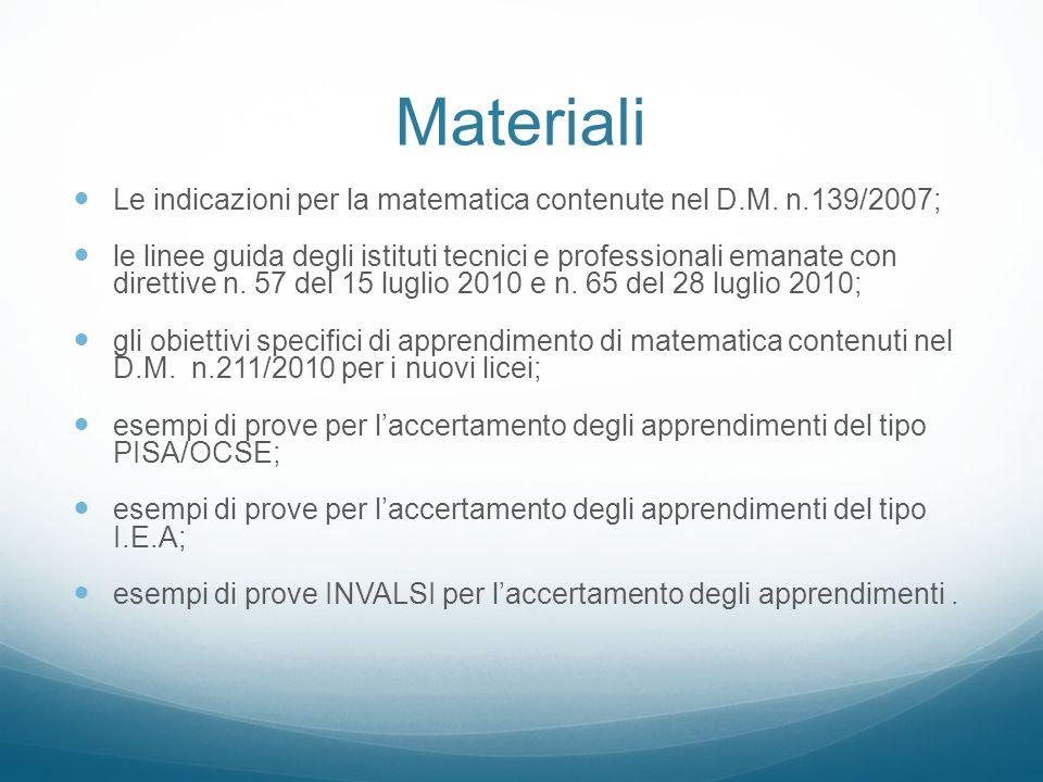 Materiali Le indicazioni per la matematica contenute nel D.M. n.139/2007; le linee guida degli istituti tecnici e professionali emanate con direttive