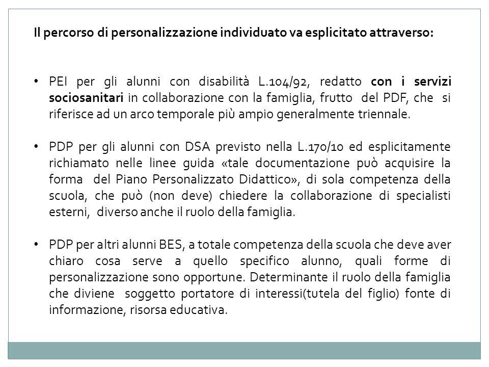 Il percorso di personalizzazione individuato va esplicitato attraverso: PEI per gli alunni con disabilità L.104/92, redatto con i servizi sociosanitar