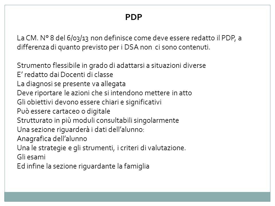 La CM. N° 8 del 6/03/13 non definisce come deve essere redatto il PDP, a differenza di quanto previsto per i DSA non ci sono contenuti. Strumento fles