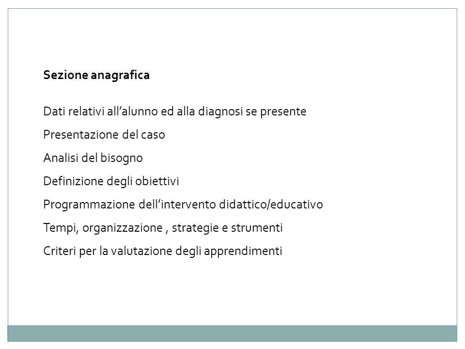 Sezione anagrafica Dati relativi allalunno ed alla diagnosi se presente Presentazione del caso Analisi del bisogno Definizione degli obiettivi Program
