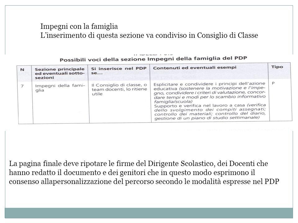 Impegni con la famiglia Linserimento di questa sezione va condiviso in Consiglio di Classe La pagina finale deve ripotare le firme del Dirigente Scola