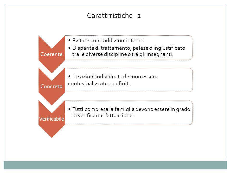 Carattrristiche -2 Coerente Evitare contraddizioni interne Disparità di trattamento, palese o ingiustificato tra le diverse discipline o tra gli inseg