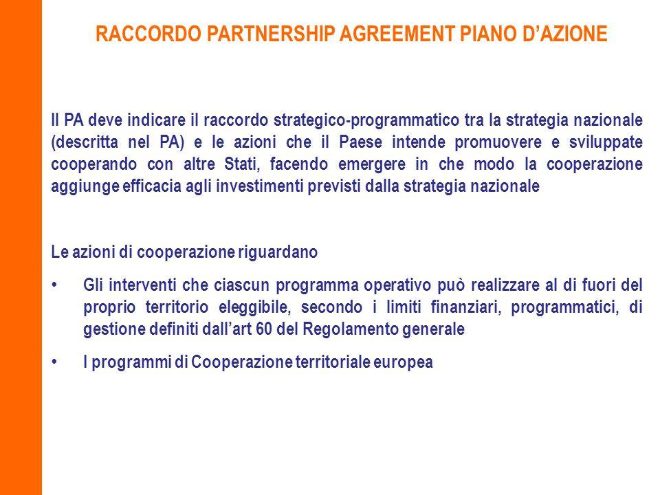 Il PA deve indicare il raccordo strategico-programmatico tra la strategia nazionale (descritta nel PA) e le azioni che il Paese intende promuovere e s