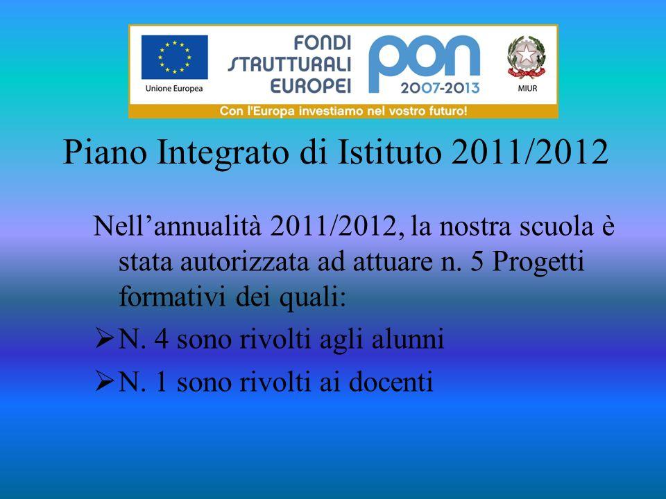 Piano Integrato di Istituto 2011/2012 Nellannualità 2011/2012, la nostra scuola è stata autorizzata ad attuare n. 5 Progetti formativi dei quali: N. 4