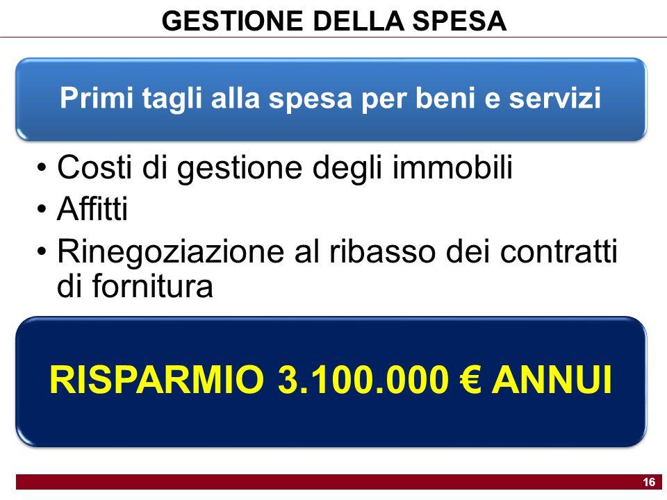 GESTIONE DELLA SPESA 16 Primi tagli alla spesa per beni e servizi Costi di gestione degli immobili Affitti Rinegoziazione al ribasso dei contratti di fornitura RISPARMIO 3.100.000 ANNUI