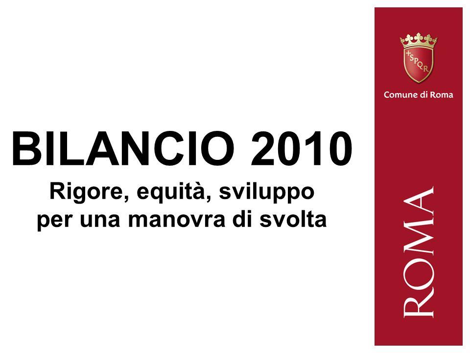 BILANCIO 2010 Rigore, equità, sviluppo per una manovra di svolta