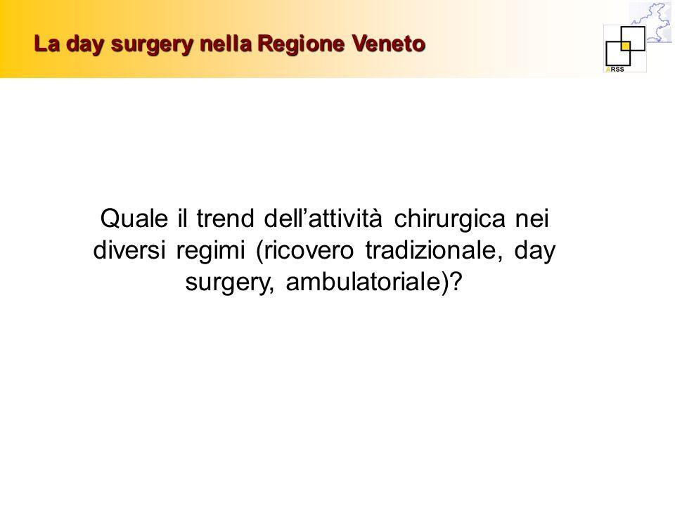 Quale il trend dellattività chirurgica nei diversi regimi (ricovero tradizionale, day surgery, ambulatoriale)? La day surgery nella Regione Veneto