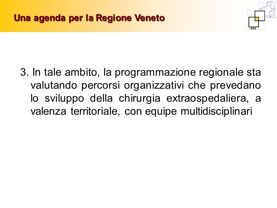 Una agenda per la Regione Veneto 3. In tale ambito, la programmazione regionale sta valutando percorsi organizzativi che prevedano lo sviluppo della c
