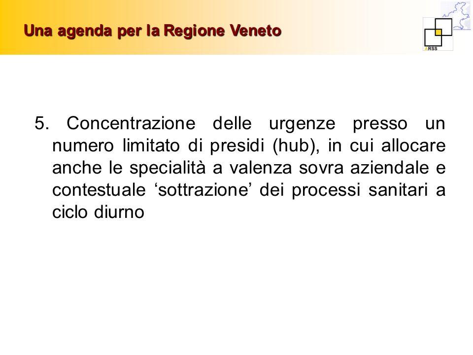 Una agenda per la Regione Veneto 5. Concentrazione delle urgenze presso un numero limitato di presidi (hub), in cui allocare anche le specialità a val