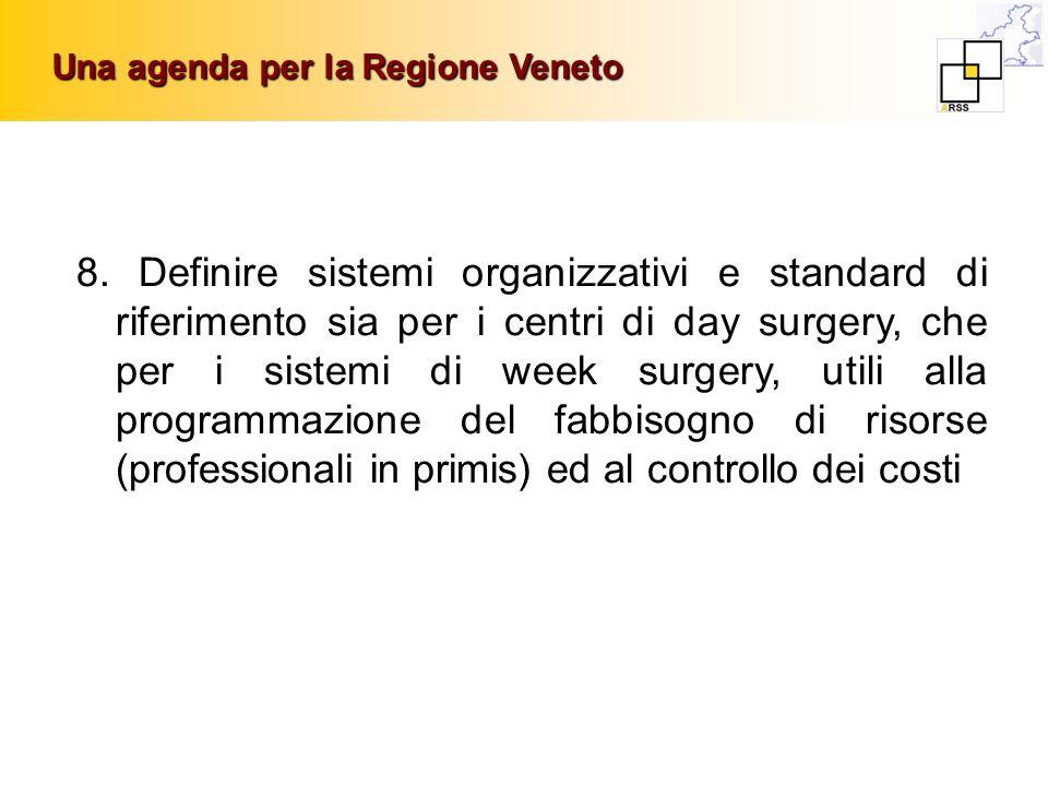 Una agenda per la Regione Veneto 8. Definire sistemi organizzativi e standard di riferimento sia per i centri di day surgery, che per i sistemi di wee