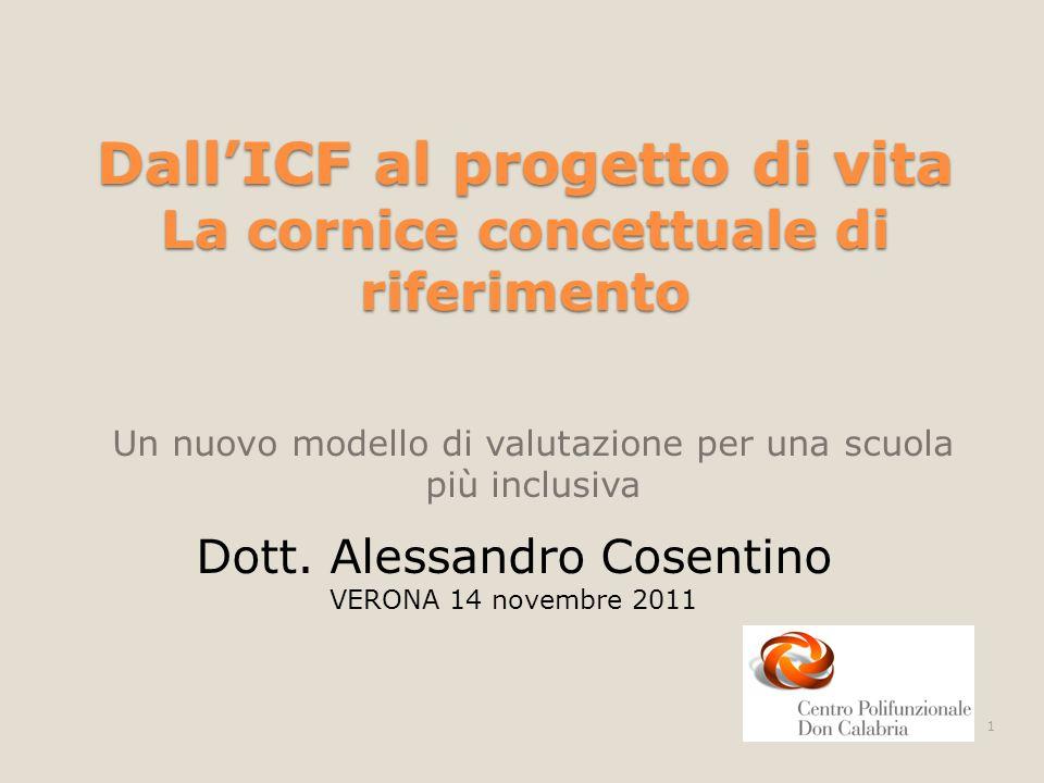 DallICF al progetto di vita La cornice concettuale di riferimento Un nuovo modello di valutazione per una scuola più inclusiva Dott. Alessandro Cosent