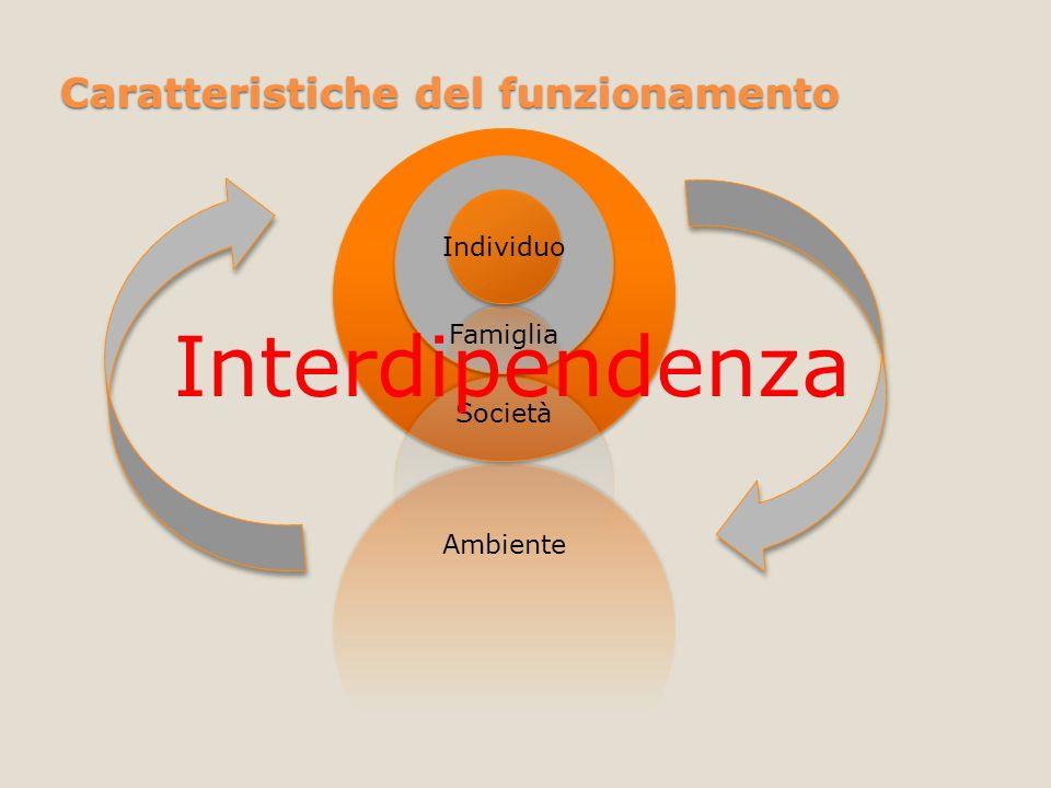 Caratteristiche del funzionamento Individuo Famiglia Società Ambiente Interdipendenza