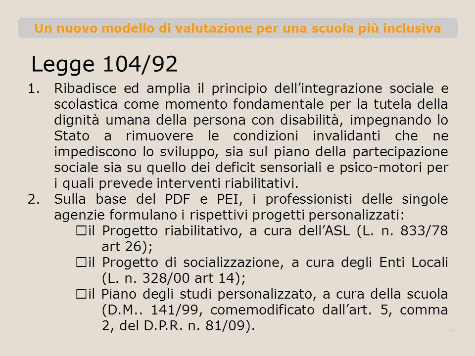 Un nuovo modello di valutazione per una scuola più inclusiva Legge 104/92 1.Ribadisce ed amplia il principio dellintegrazione sociale e scolastica com