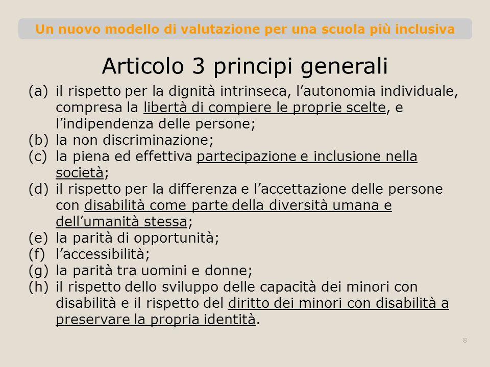 Un nuovo modello di valutazione per una scuola più inclusiva Articolo 3 principi generali (a)il rispetto per la dignità intrinseca, lautonomia individ