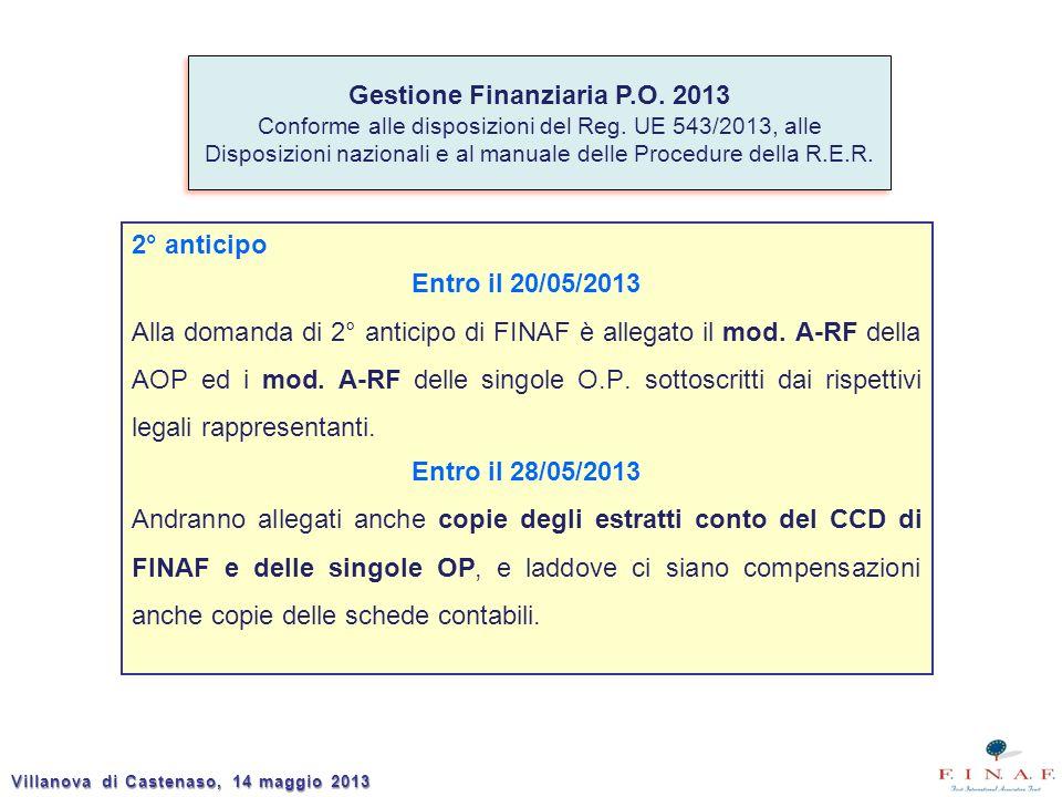 2° anticipo Entro il 20/05/2013 Alla domanda di 2° anticipo di FINAF è allegato il mod. A-RF della AOP ed i mod. A-RF delle singole O.P. sottoscritti