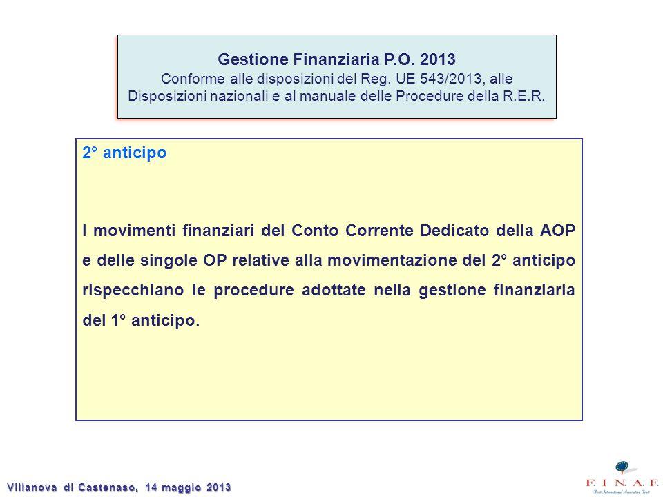 2° anticipo I movimenti finanziari del Conto Corrente Dedicato della AOP e delle singole OP relative alla movimentazione del 2° anticipo rispecchiano