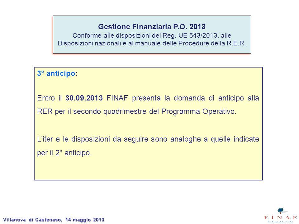 3° anticipo: Entro il 30.09.2013 FINAF presenta la domanda di anticipo alla RER per il secondo quadrimestre del Programma Operativo. Liter e le dispos