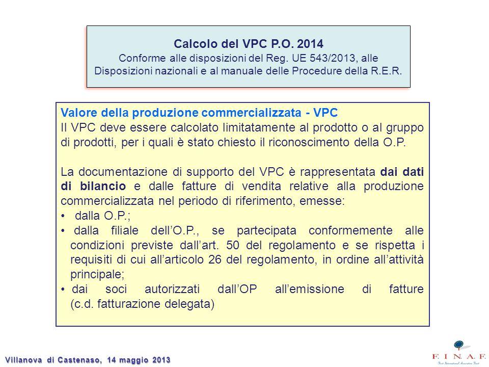 Calcolo del VPC P.O. 2014 Conforme alle disposizioni del Reg. UE 543/2013, alle Disposizioni nazionali e al manuale delle Procedure della R.E.R. Calco