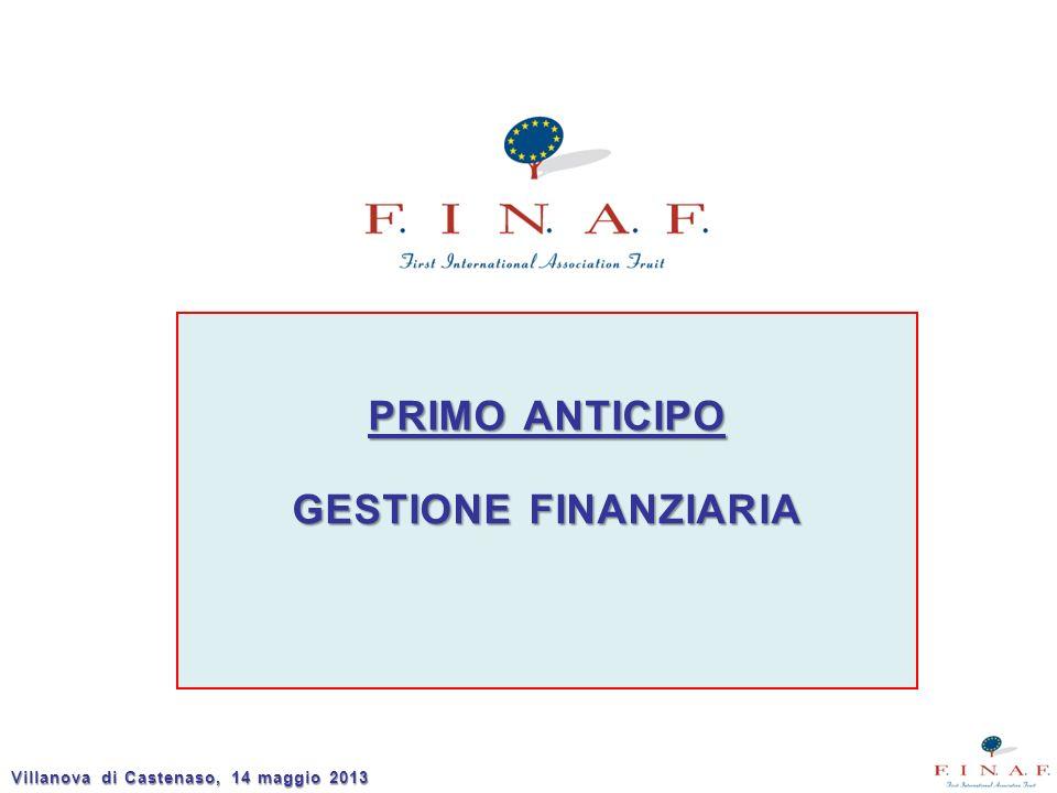 1° anticipo Entro il 31.01.2013 FINAF presenta la domanda di anticipo alla RER per il primo quadrimestre del Programma Operativo.