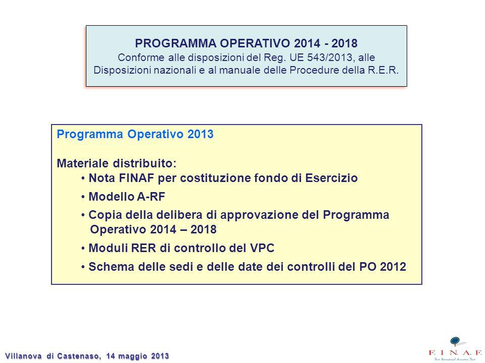 Villanova di Castenaso, 14 maggio 2013 PROGRAMMA OPERATIVO 2014 - 2018 Conforme alle disposizioni del Reg. UE 543/2013, alle Disposizioni nazionali e