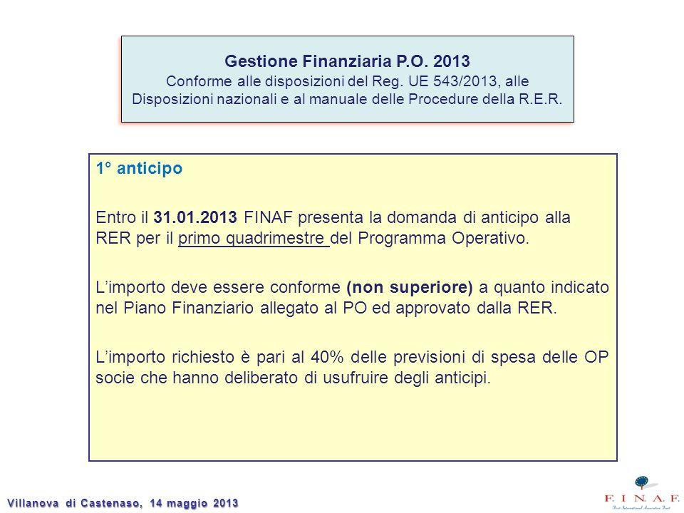 1° anticipo Entro il 31.01.2013 FINAF presenta la domanda di anticipo alla RER per il primo quadrimestre del Programma Operativo. Limporto deve essere