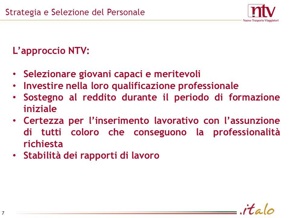 7 Strategia e Selezione del Personale Lapproccio NTV: Selezionare giovani capaci e meritevoli Investire nella loro qualificazione professionale Sosteg