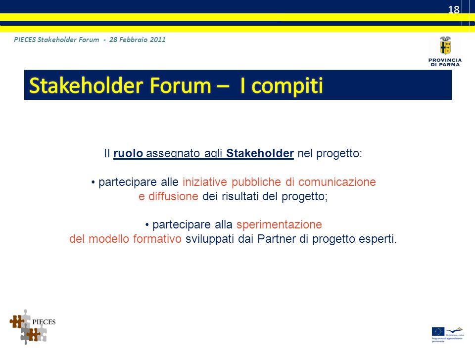 PIECES Stakeholder Forum - 28 Febbraio 2011 18 Il ruolo assegnato agli Stakeholder nel progetto: partecipare alle iniziative pubbliche di comunicazione e diffusione dei risultati del progetto; partecipare alla sperimentazione del modello formativo sviluppati dai Partner di progetto esperti.