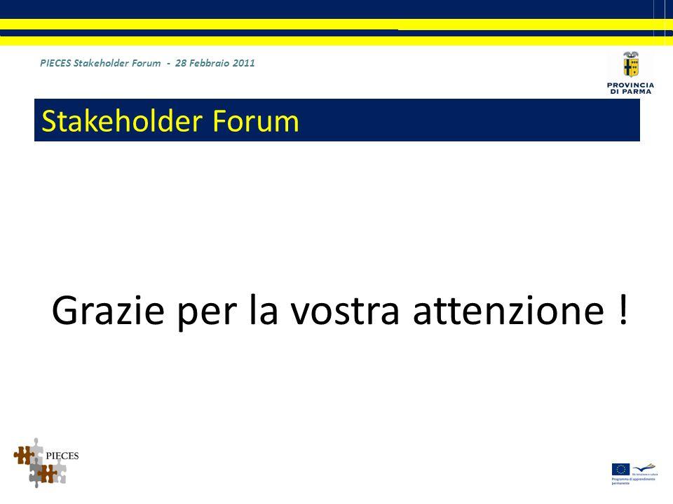Grazie per la vostra attenzione ! PIECES Stakeholder Forum - 28 Febbraio 2011