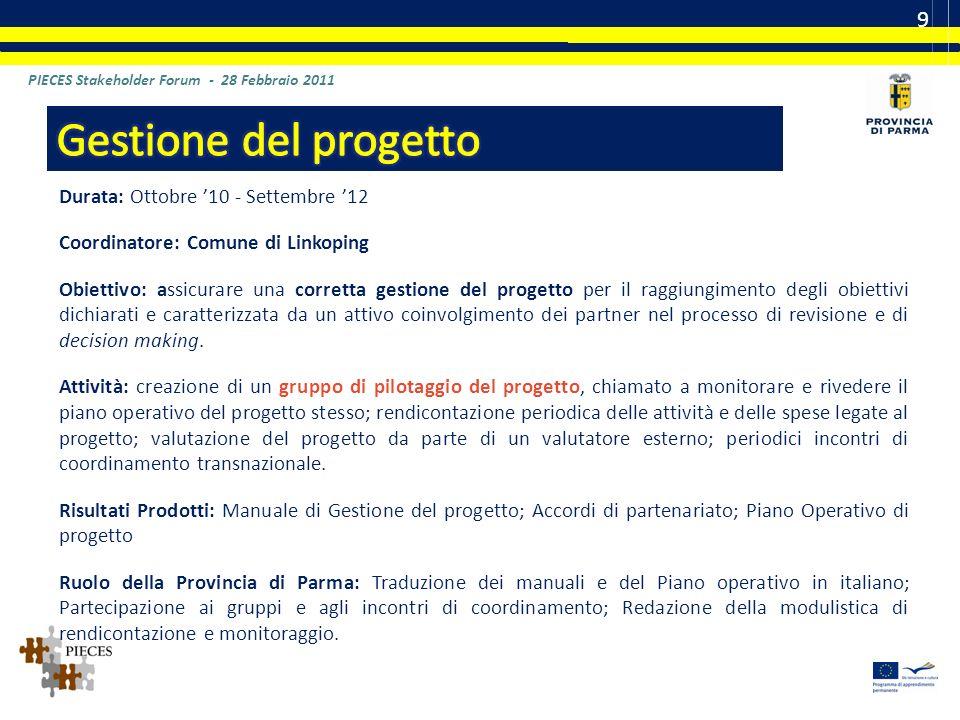 Contatti per la Provincia di Parma Gaetana Ariu – Laboratorio dellInnovazione del sistema formativo Email: g.ariu@provincia.parma.itg.ariu@provincia.parma.it Tel.