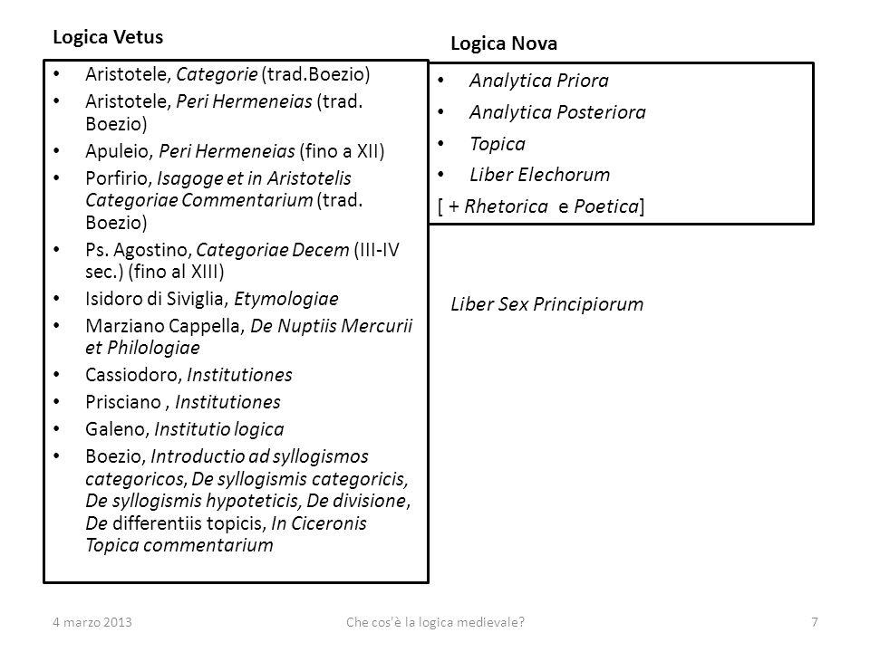 Logica Vetus Aristotele, Categorie (trad.Boezio) Aristotele, Peri Hermeneias (trad.