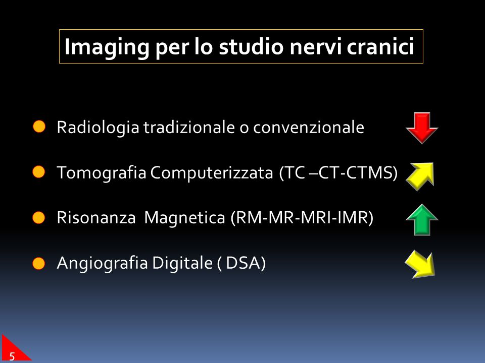 Imaging per lo studio nervi cranici Radiologia tradizionale o convenzionale INDICAZIONI : segni indiretti (erosioni-dilatazioni) 4
