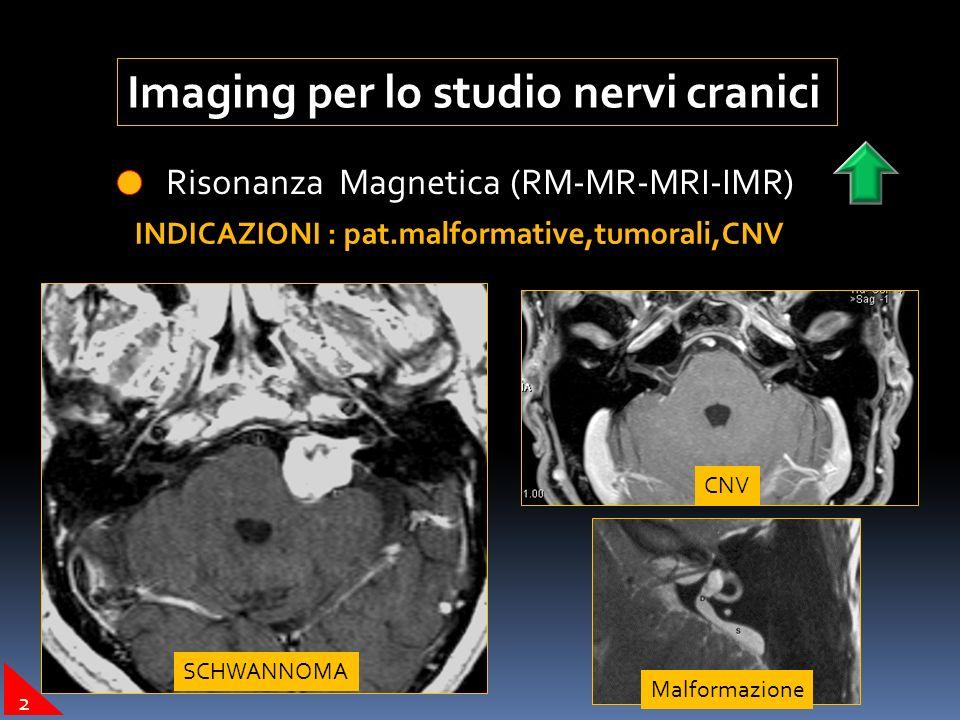 Imaging per lo studio nervi cranici Angiografia Digitale ( DSA) INDICAZIONI : embolizzazione tumori Tumore glomico Pre-embolizzazionePost-embolizzazione 1