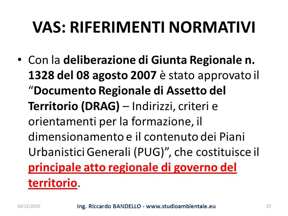VAS: RIFERIMENTI NORMATIVI Con la deliberazione di Giunta Regionale n. 1328 del 08 agosto 2007 è stato approvato ilDocumento Regionale di Assetto del