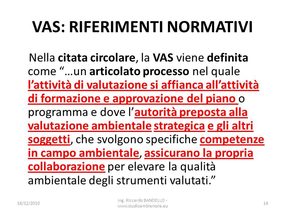 VAS: RIFERIMENTI NORMATIVI Nella citata circolare, la VAS viene definita come …un articolato processo nel quale lattività di valutazione si affianca a
