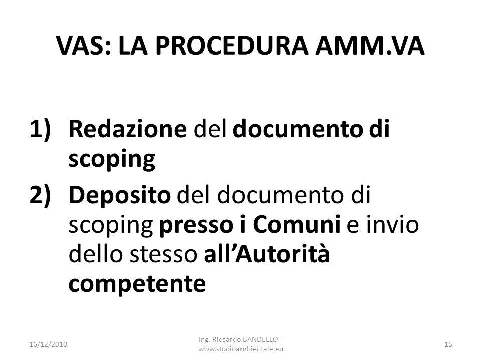 VAS: LA PROCEDURA AMM.VA 1)Redazione del documento di scoping 2)Deposito del documento di scoping presso i Comuni e invio dello stesso allAutorità com