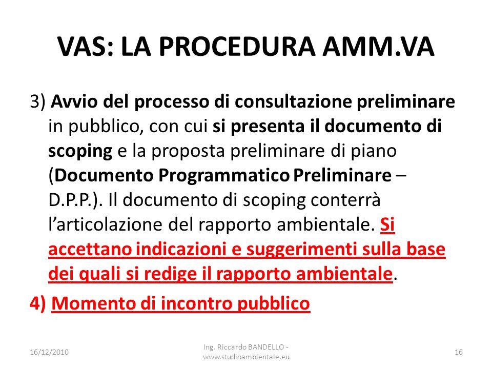 VAS: LA PROCEDURA AMM.VA 3) Avvio del processo di consultazione preliminare in pubblico, con cui si presenta il documento di scoping e la proposta pre