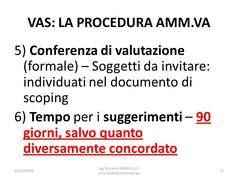 VAS: LA PROCEDURA AMM.VA 5) Conferenza di valutazione (formale) – Soggetti da invitare: individuati nel documento di scoping 6) Tempo per i suggerimen