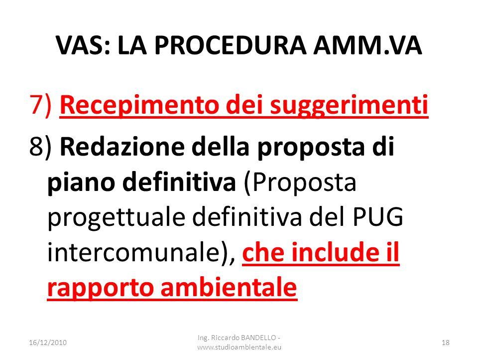 VAS: LA PROCEDURA AMM.VA 7) Recepimento dei suggerimenti 8) Redazione della proposta di piano definitiva (Proposta progettuale definitiva del PUG inte