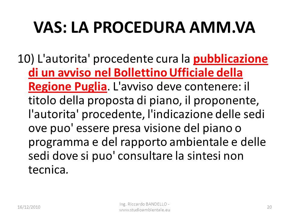 VAS: LA PROCEDURA AMM.VA 10) L'autorita' procedente cura la pubblicazione di un avviso nel Bollettino Ufficiale della Regione Puglia. L'avviso deve co