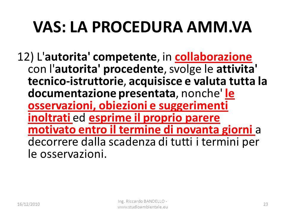 VAS: LA PROCEDURA AMM.VA 12) L'autorita' competente, in collaborazione con l'autorita' procedente, svolge le attivita' tecnico-istruttorie, acquisisce