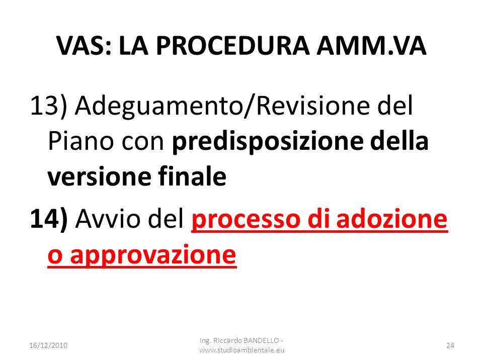 VAS: LA PROCEDURA AMM.VA 13) Adeguamento/Revisione del Piano con predisposizione della versione finale 14) Avvio del processo di adozione o approvazio